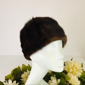 1950s Sable Mink Fitted Cap Hat Soft Genuine Fur